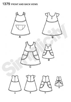 "1379 Simplicity Pattern: Child's Dress and Dress for 18"" Doll"